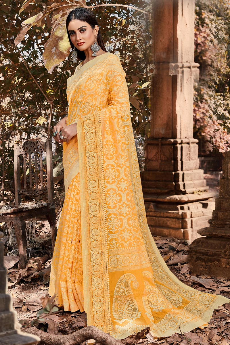 Yellow Color Festive Wear Brasso Fabric Printed Designer Saree