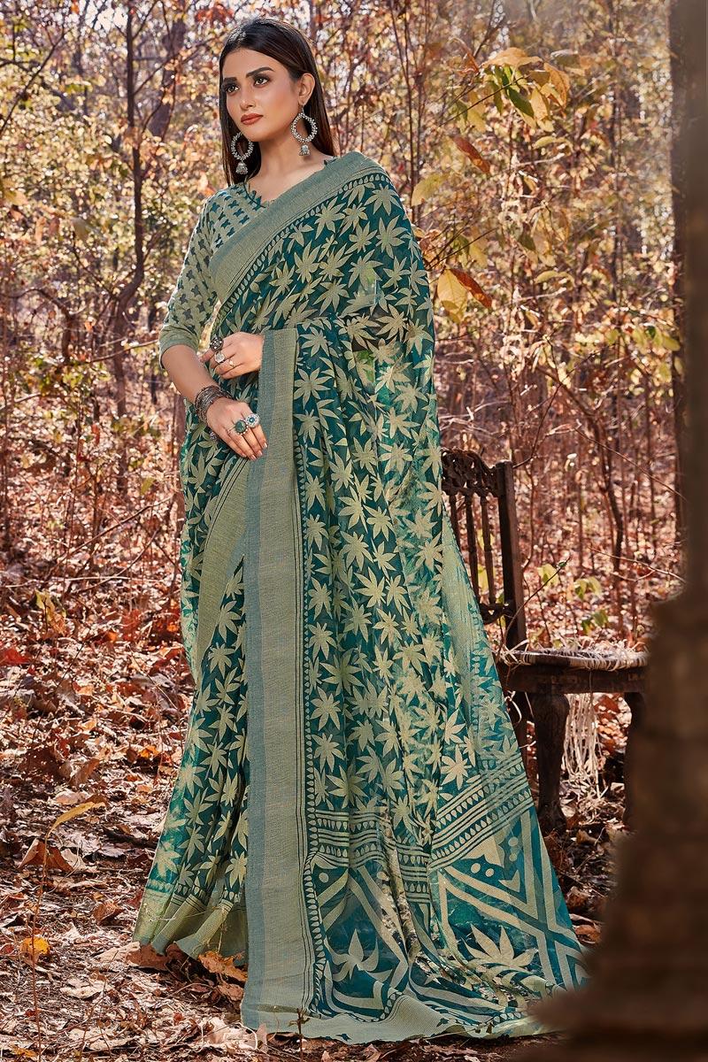 Brasso Fabric Festive Wear Printed Designer Saree In Teal Color