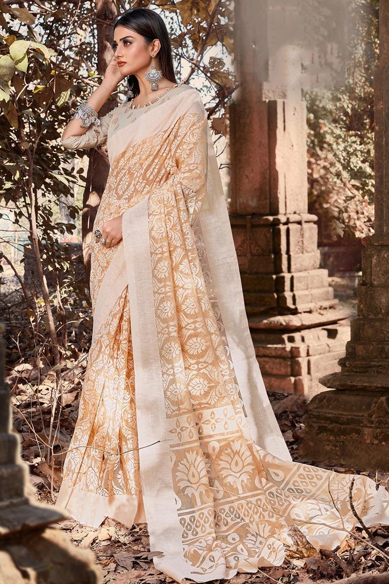 Festive Wear Brasso Fabric Chikoo Color Printed Designer Saree