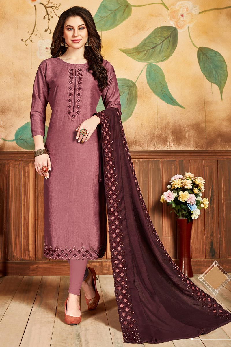 Festive Wear Pink Color Fancy Straight Cut Suit In Art Silk Fabric