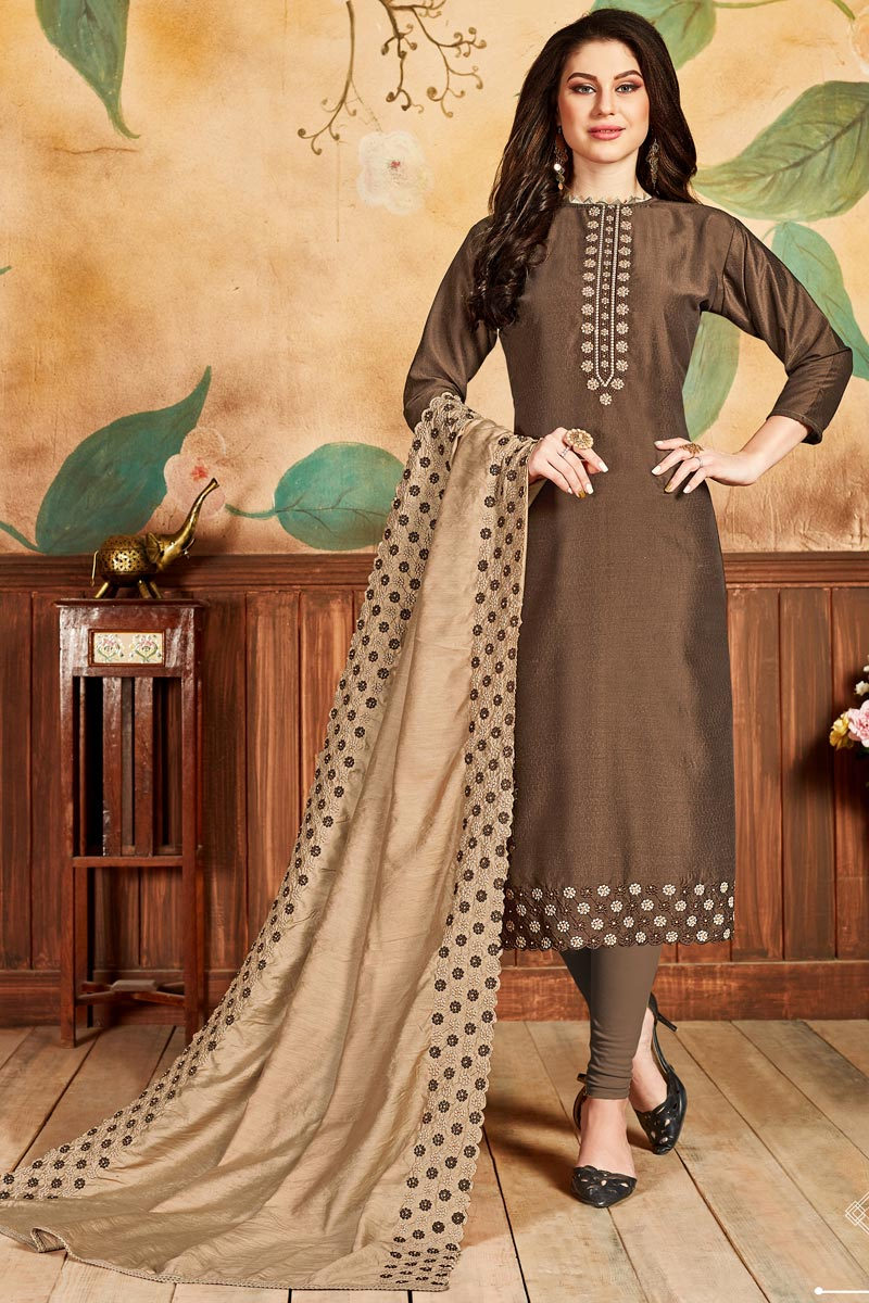 Fancy Brown Color Festive Wear Straight Cut Dress In Art Silk Fabric