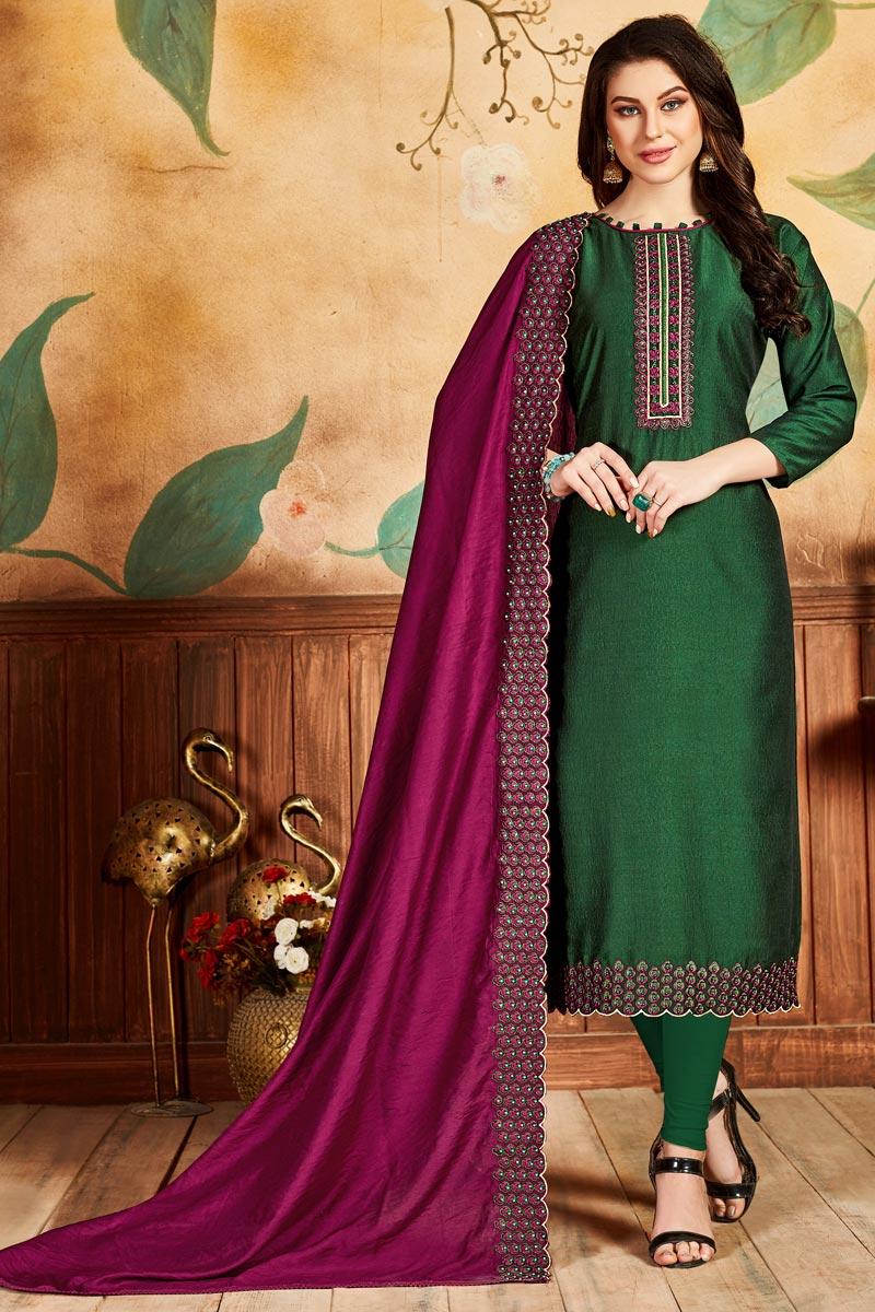 Festive Wear Dark Green Color Fancy Art Silk Fabric Straight Cut Suit