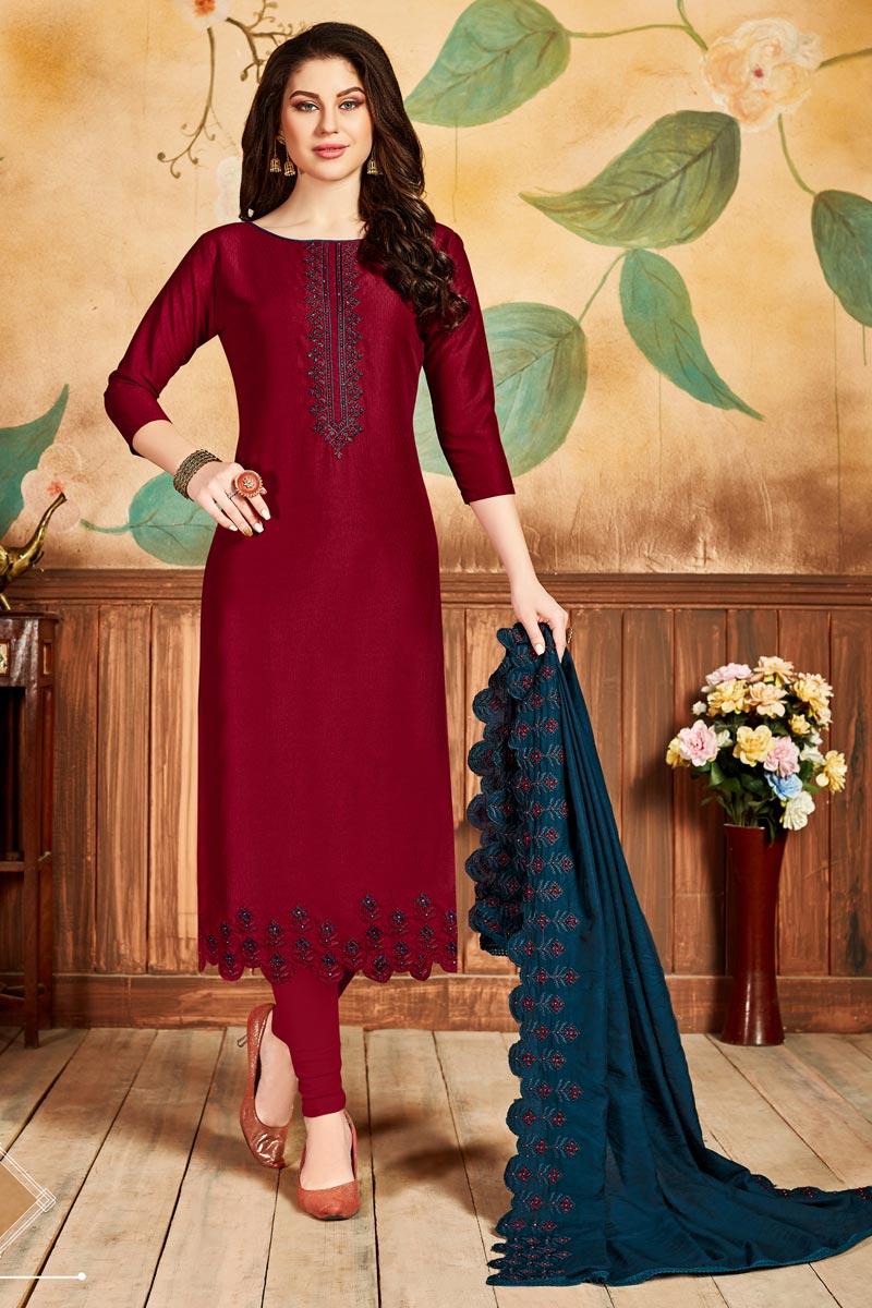 Fancy Red Color Festive Wear Art Silk Fabric Straight Cut Dress