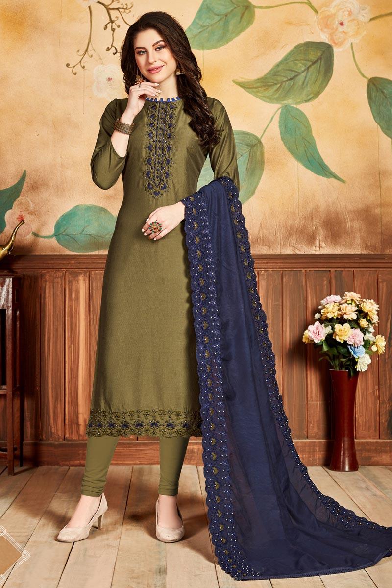 Festive Wear Art Silk Fabric Fancy Mehendi Green Color Straight Cut Suit