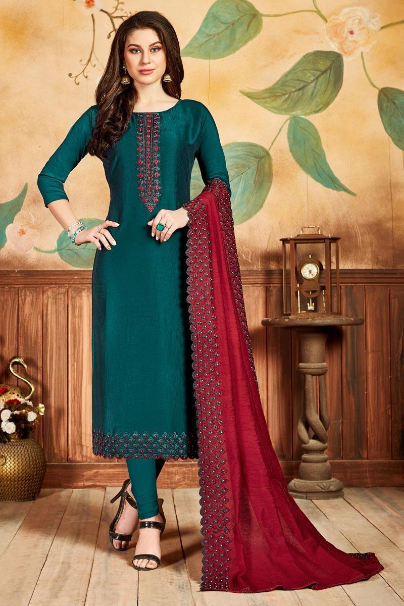 Festive Wear Art Silk Fabric Fancy Straight Cut Suit In Teal Color