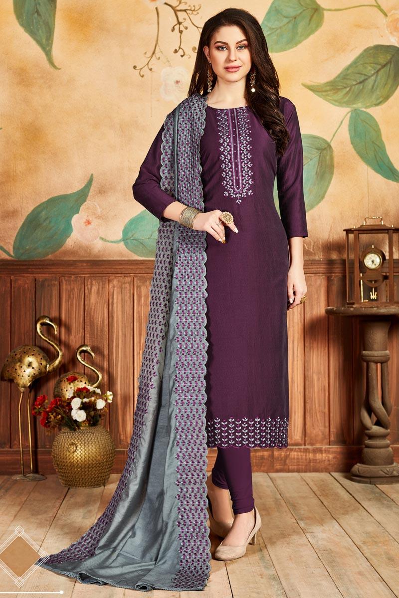 Fancy Art Silk Fabric Festive Wear Straight Cut Dress In Wine Color
