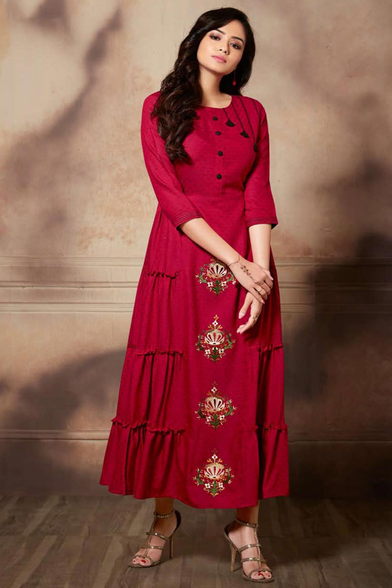 Rayon Fabric Function Wear Red Color Thread Embroidered Kurti