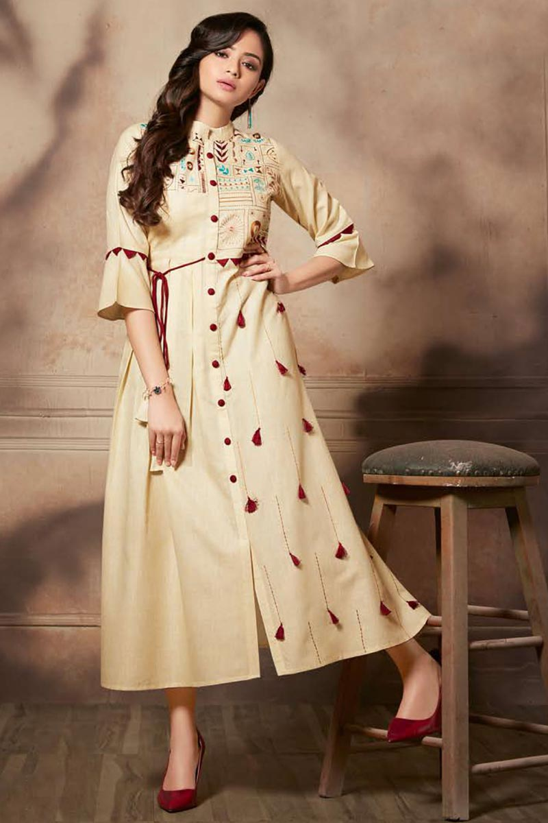 Cream Color Function Wear Thread Embroidered Kurti In Rayon Fabric