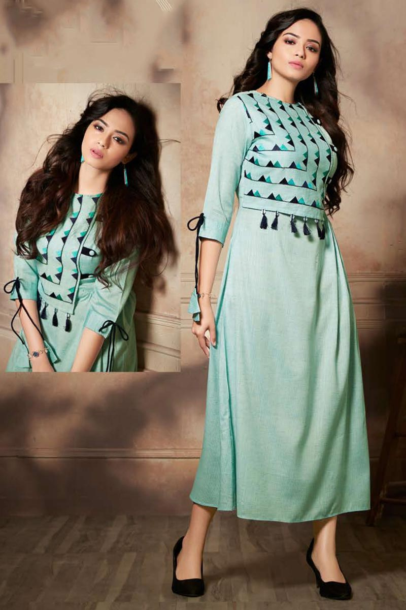 Sea Green Color Function Wear Thread Embroidered Rayon Fabric Kurti