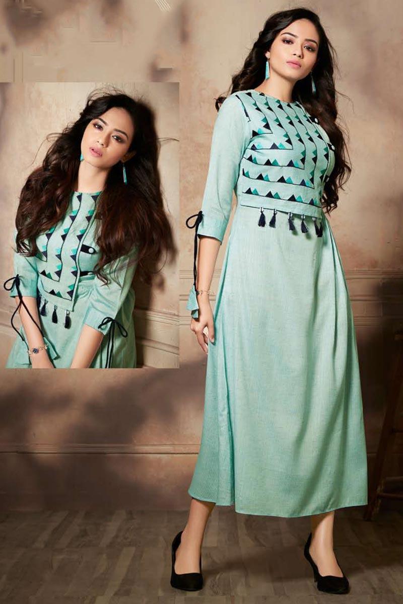 Sea Green Color Function Wear Thread Embroidered Rayon Fabric Kurti