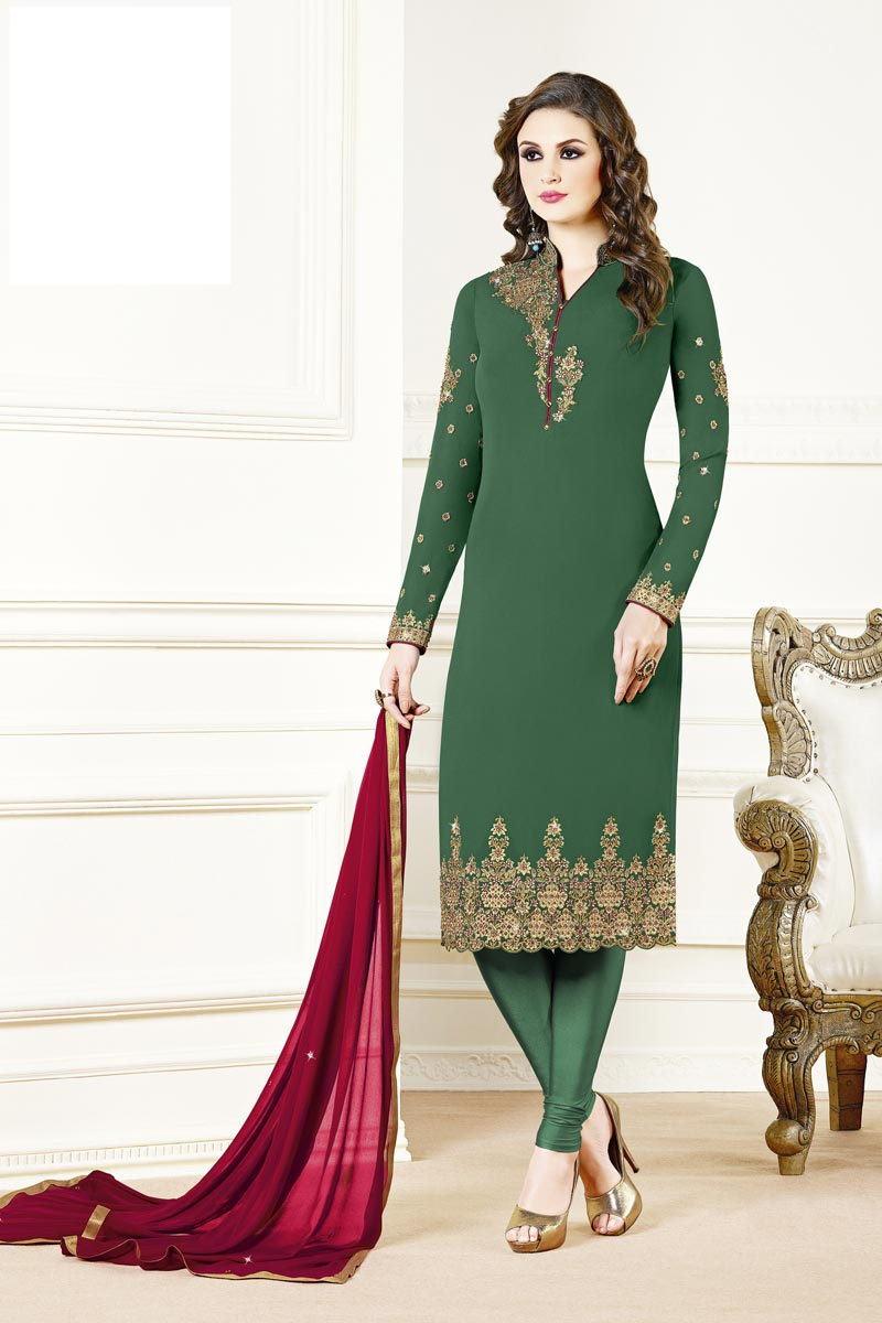 Designer Party Style Green Color Georgette Fabric Embroidered Straight Cut Suit