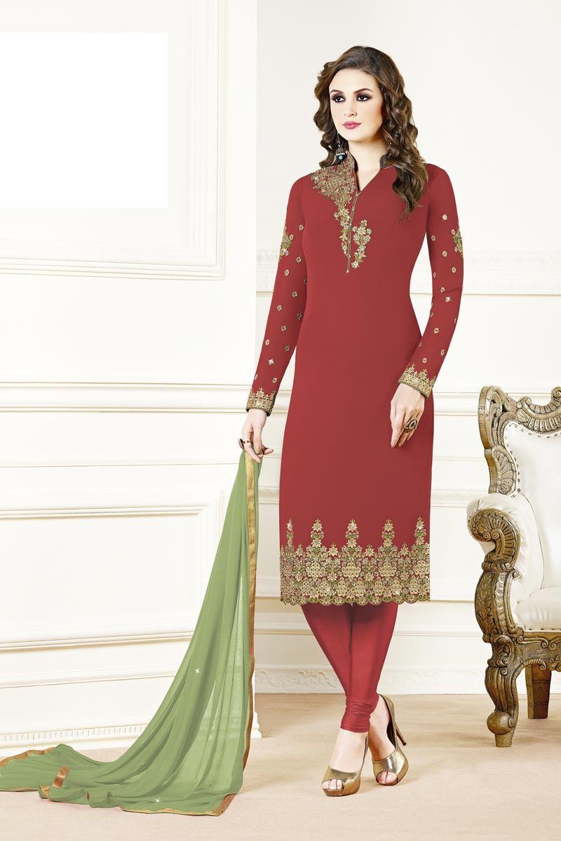Designer Party Style Red Color Georgette Fabric Embroidered Straight Cut Suit