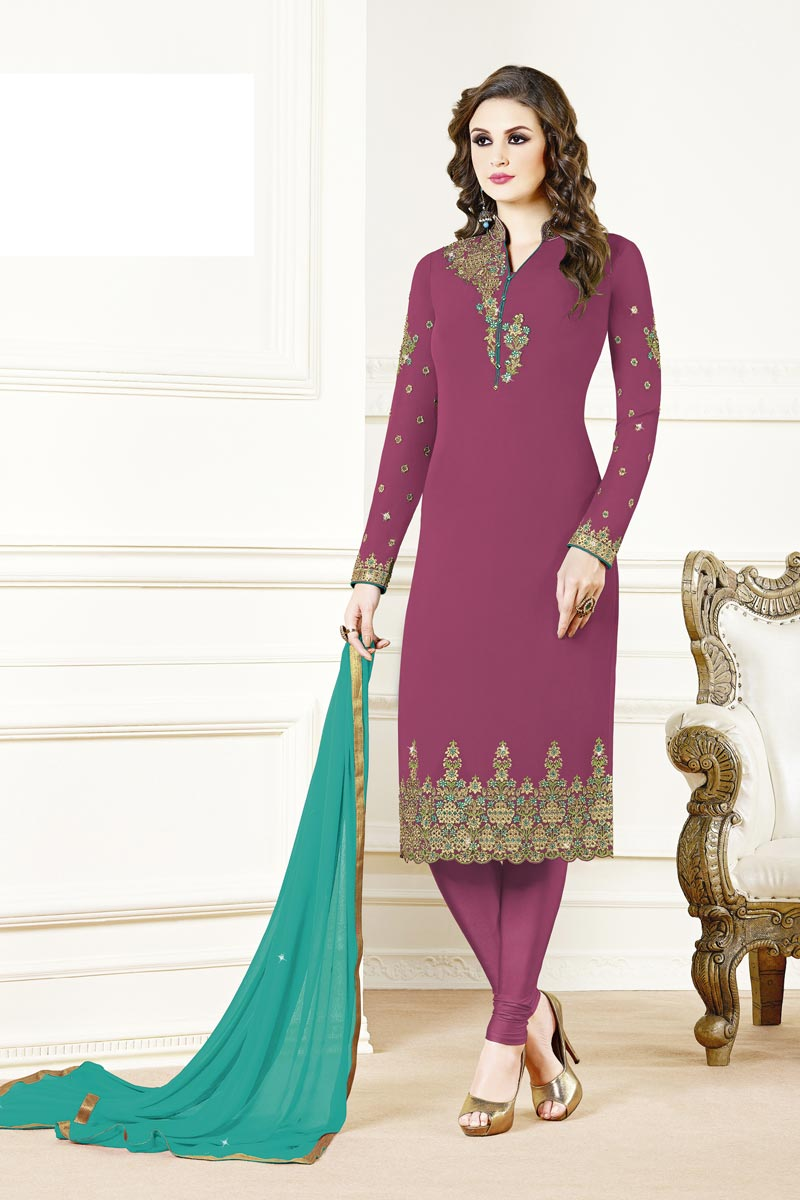 Designer Georgette Fabric Party Style Embroidered Burgundy Color Straight Cut Suit