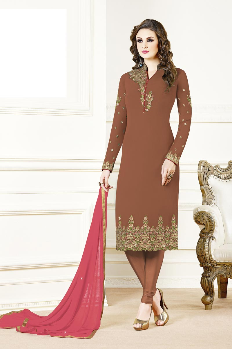 Designer Georgette Fabric Party Style Embroidered Brown Color Straight Cut Suit