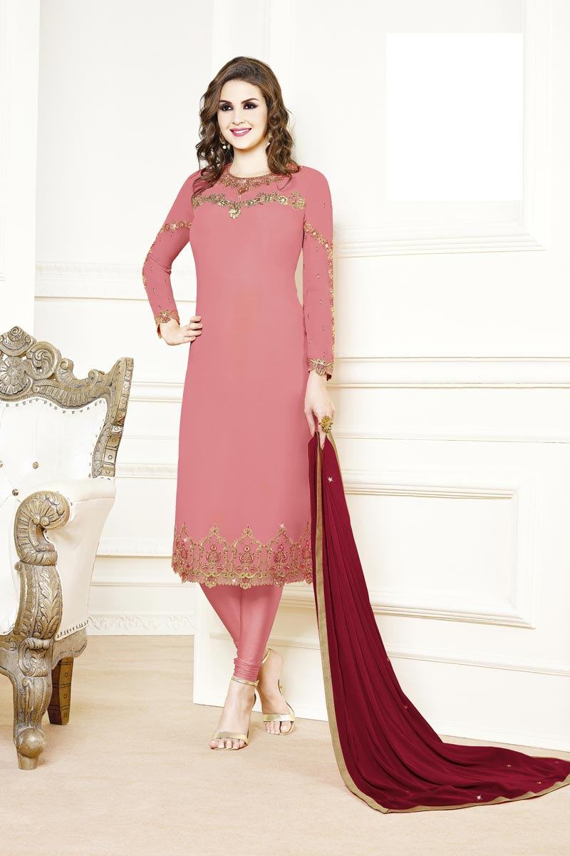 Party Style Georgette Fabric Designer Pink Color Embroidered Straight Cut Suit