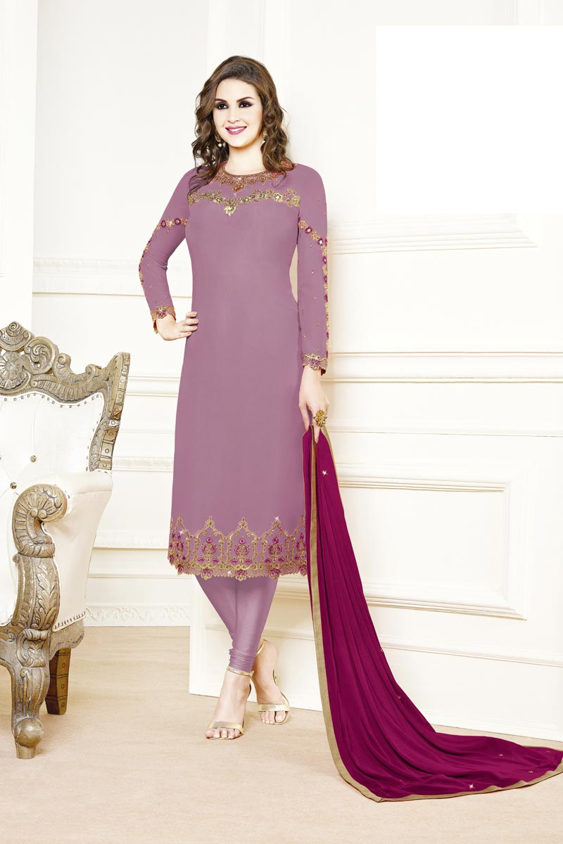 Georgette Fabric Party Style Designer Embroidered Straight Cut Dress In Lavender Color