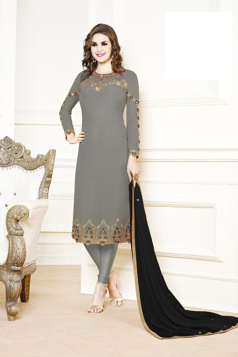 Designer Party Style Georgette Fabric Grey Color Embroidered Straight Cut Suit