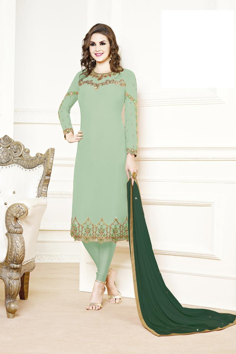 Designer Party Style Georgette Fabric Sea Green Color Embroidered Straight Cut Suit