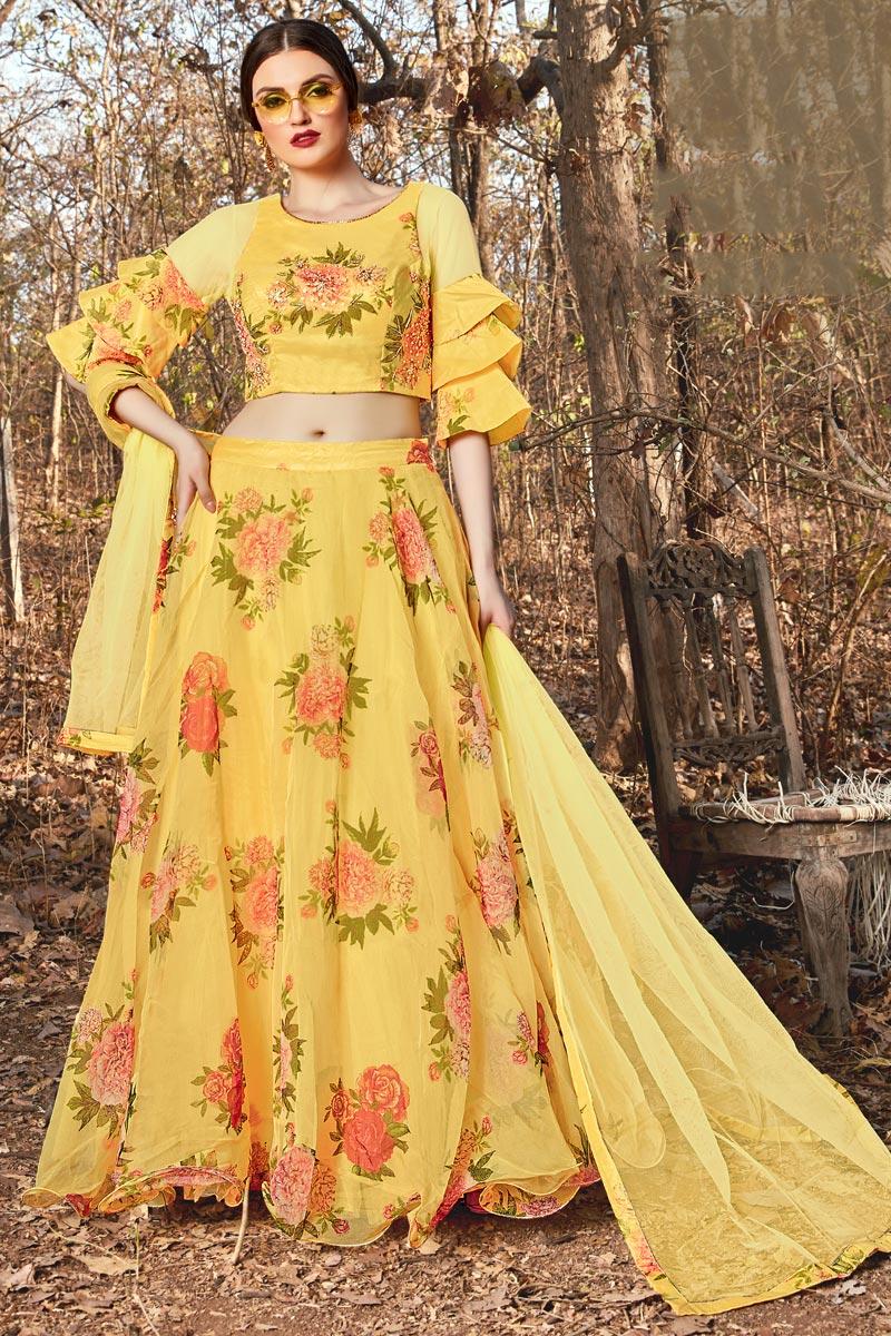 Fancy Fabric Sangeet Wear Yellow Color Readymade Lehenga Choli
