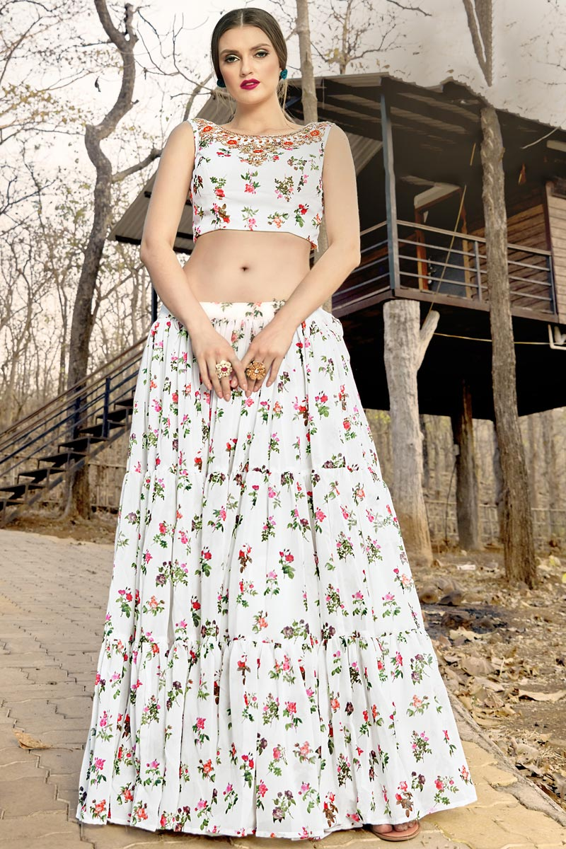Georgette Fabric Designer Off White Color Readymade Indo Western Lehenga Choli