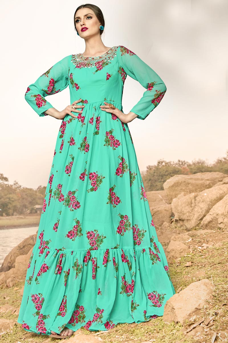Saneet Wear Designer Sea Green Color Readymade Gown In Georgette Fabric
