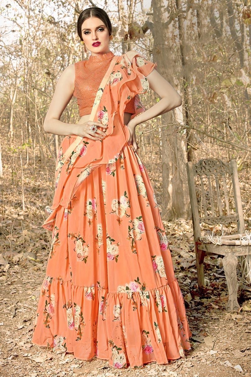 Orange Color Function Wear Designer Georgette Fabric Readymade Lehenga Choli