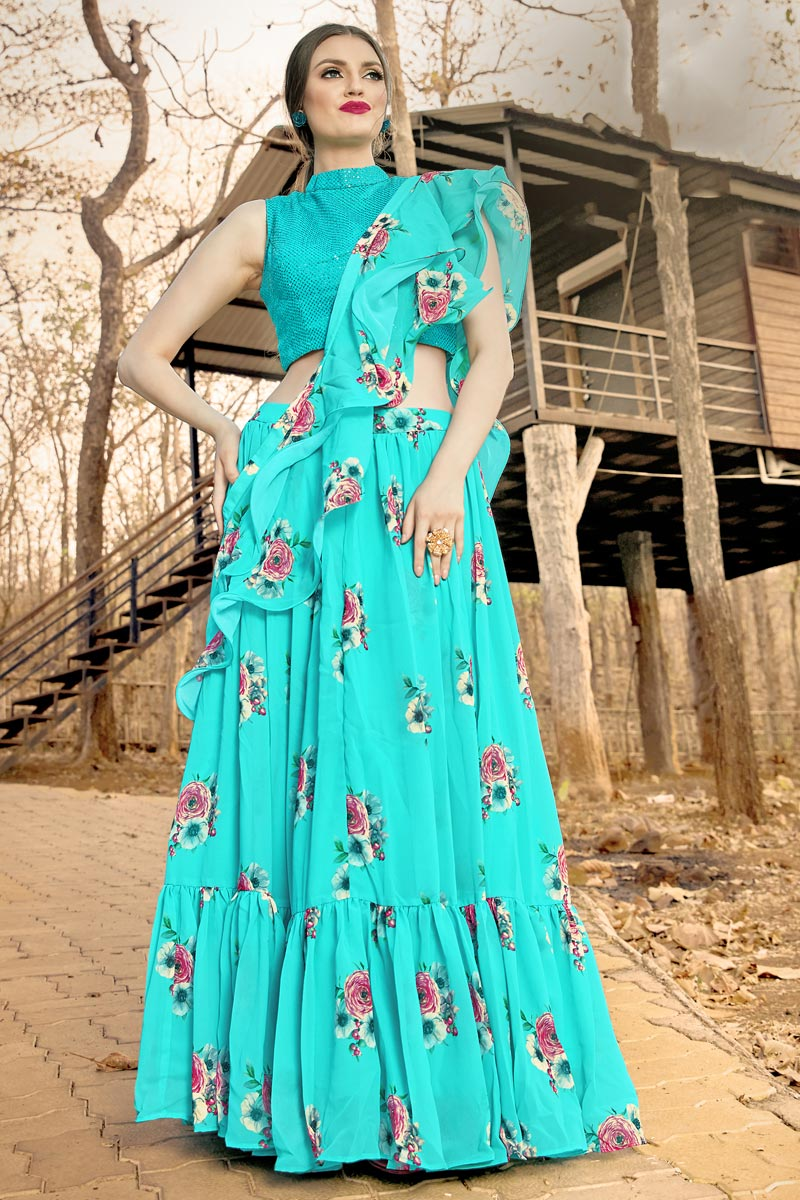 Designer Function Wear Georgette Fabric Cyan Color Readymade Lehenga Choli
