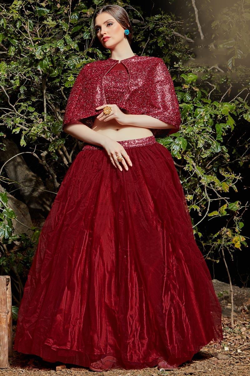 Fancy Fabric Function Wear Maroon Color Readymade Indo Western Lehenga Choli