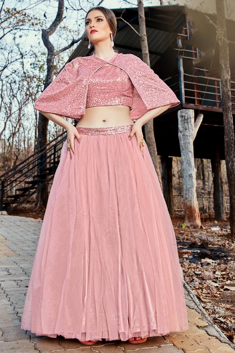 Function Wear Pink Color Fancy Fabric Readymade Indo Western Lehenga Choli