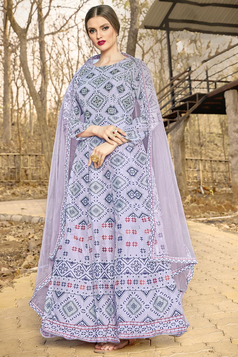 Art Silk Fabric Designer Grey Color Function Wear Printed Readymade Gown