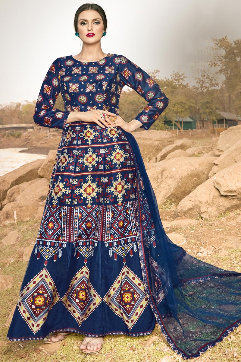 Function Wear Designer Navy Blue Color Readymade Gown In Art Silk Fabric