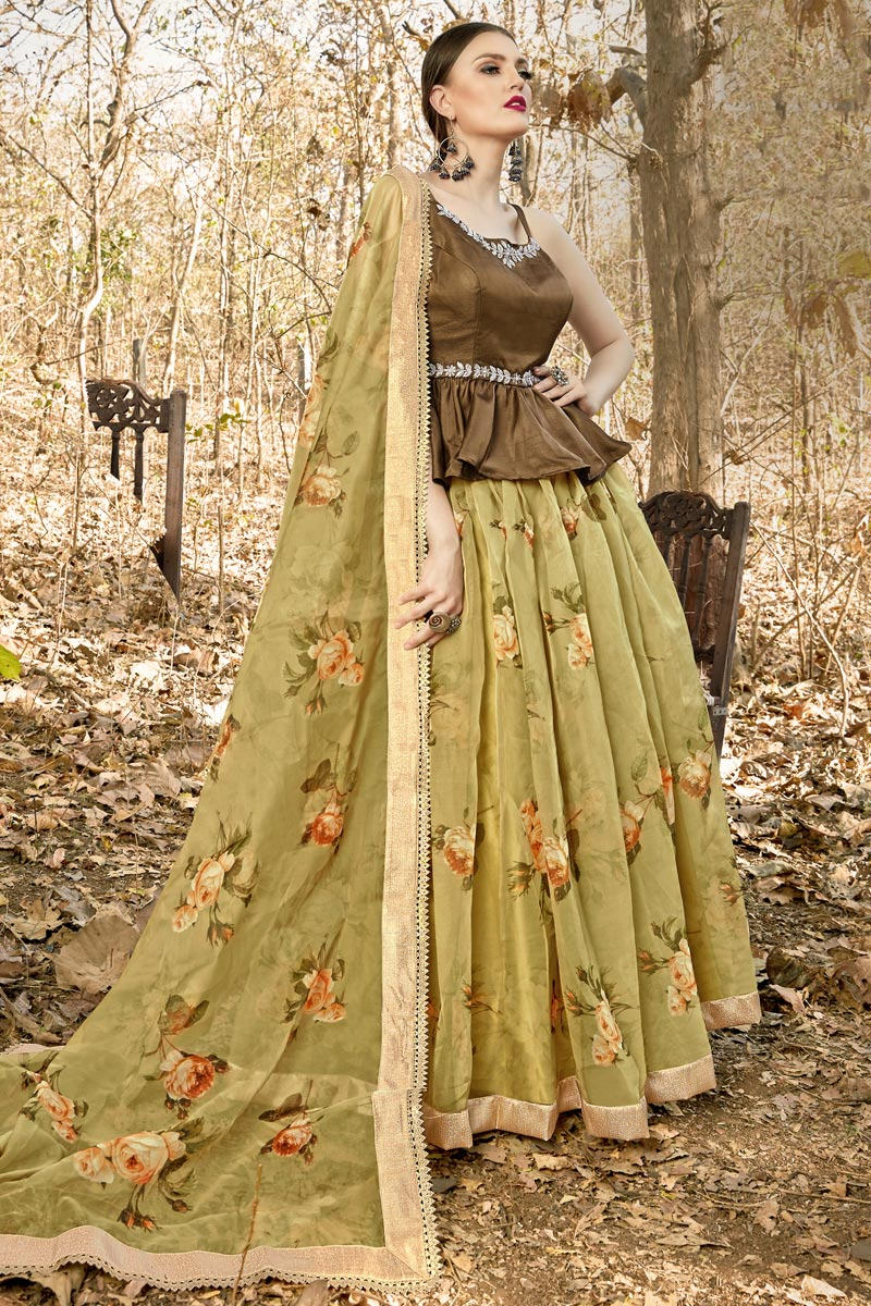 Beige Color Function Wear Fancy Fabric Readymade Lehenga Choli