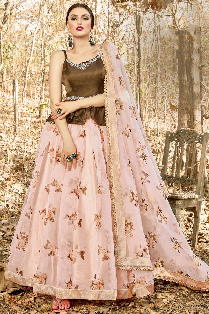 Function Wear Fancy Fabric Pink Color Readymade Lehenga Choli