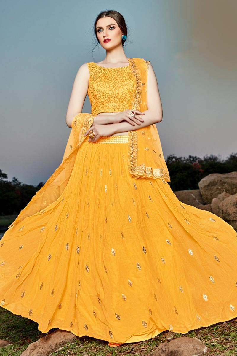 Designer Georgette Fabric Function Wear Orange Color Readymade Lehenga Choli