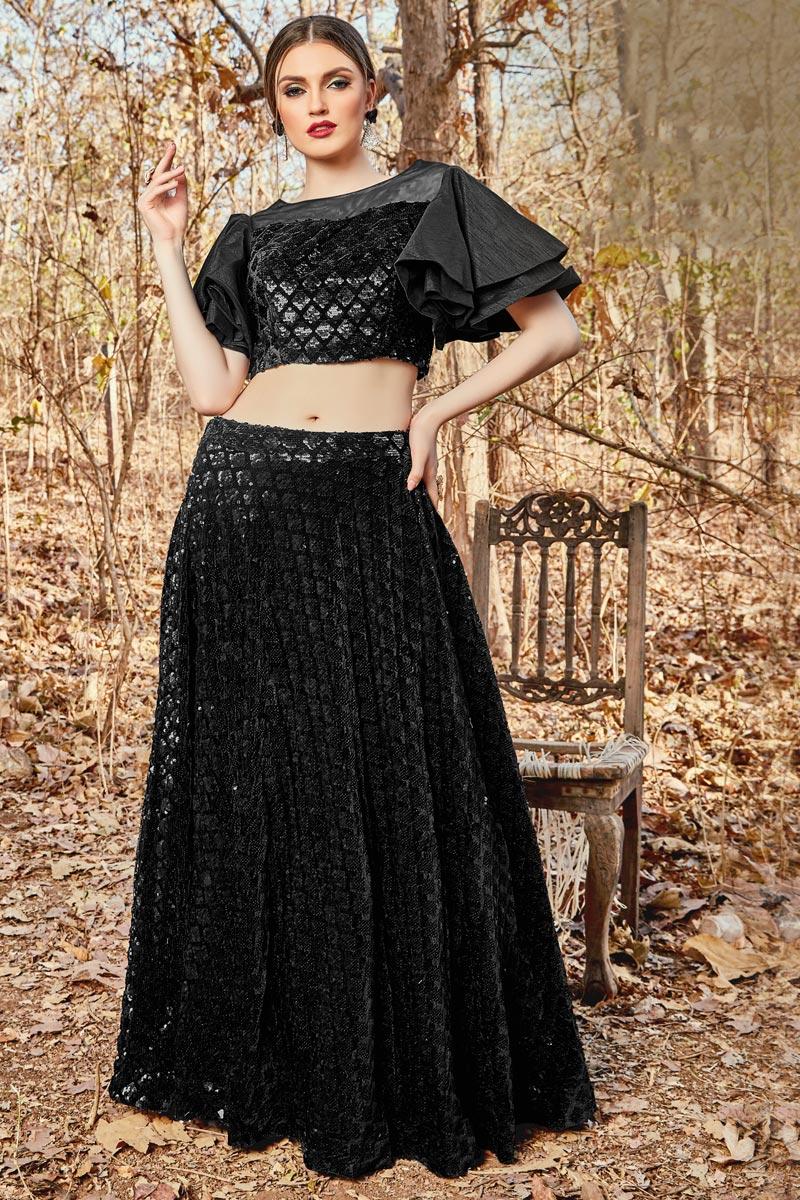 Function Wear Black Color Velvet Fabric Readymade Indo Western Lehenga Choli