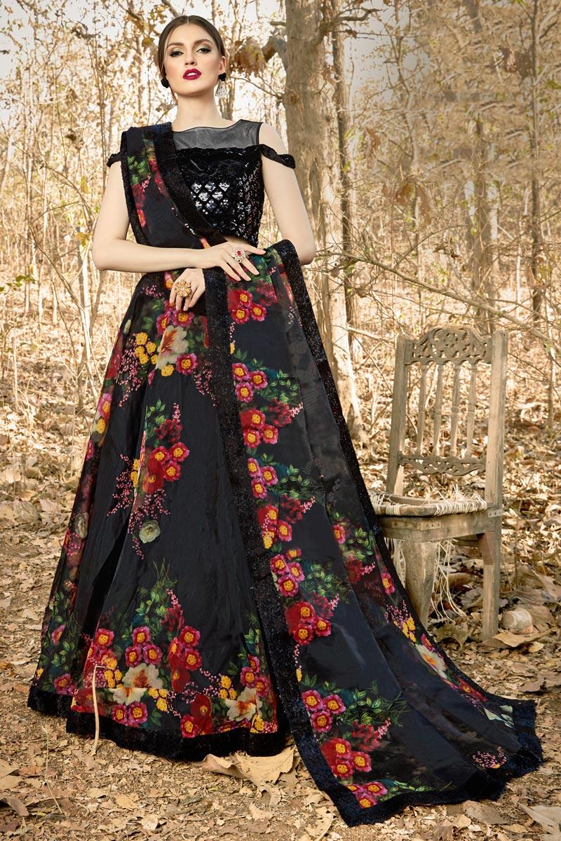 Fancy Fabric Black Color Function Wear Readymade Lehenga Choli