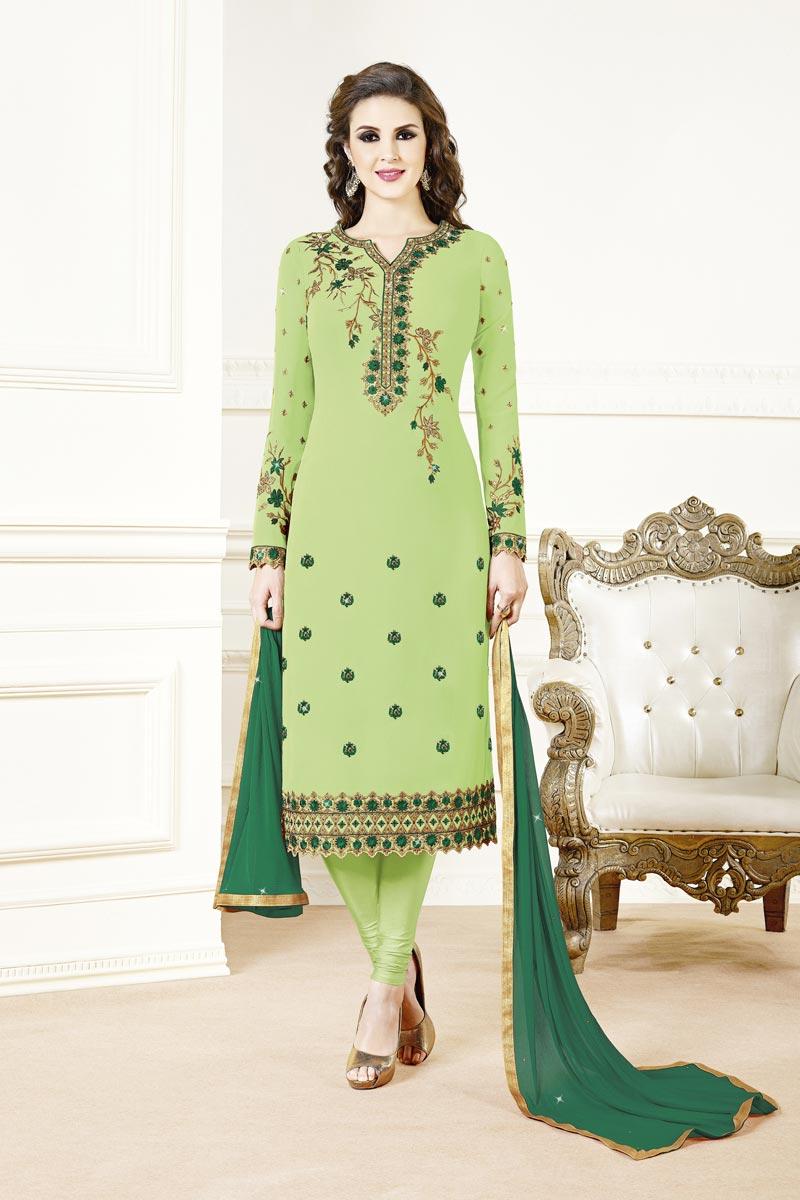 Festive Wear Georgette Fabric Fancy Sea Green Color Embroidered Straight Cut Dress