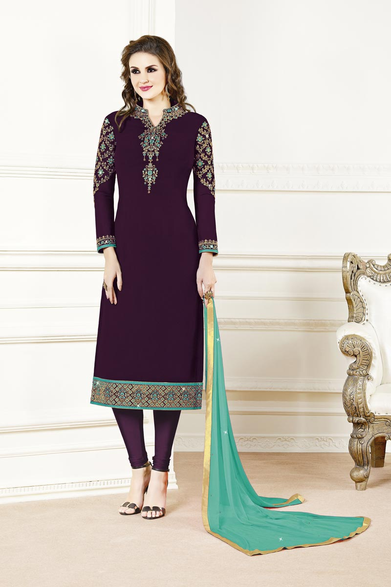 Wine Color Festive Wear Fancy Embroidered Straight Cut Suit In Georgette Fabric