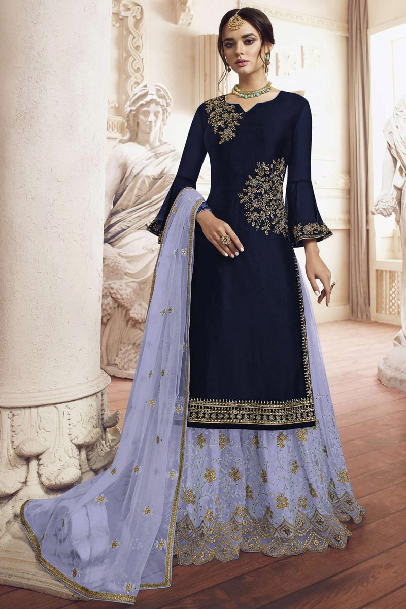 Designer Georgette Fabric Function Wear Embroidered Navy Blue Color Sharara Suit