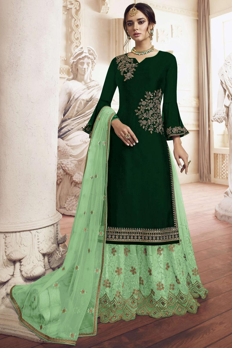 Function Wear Georgette Fabric Designer Embroidered Sharara Dress In Dark Green Color