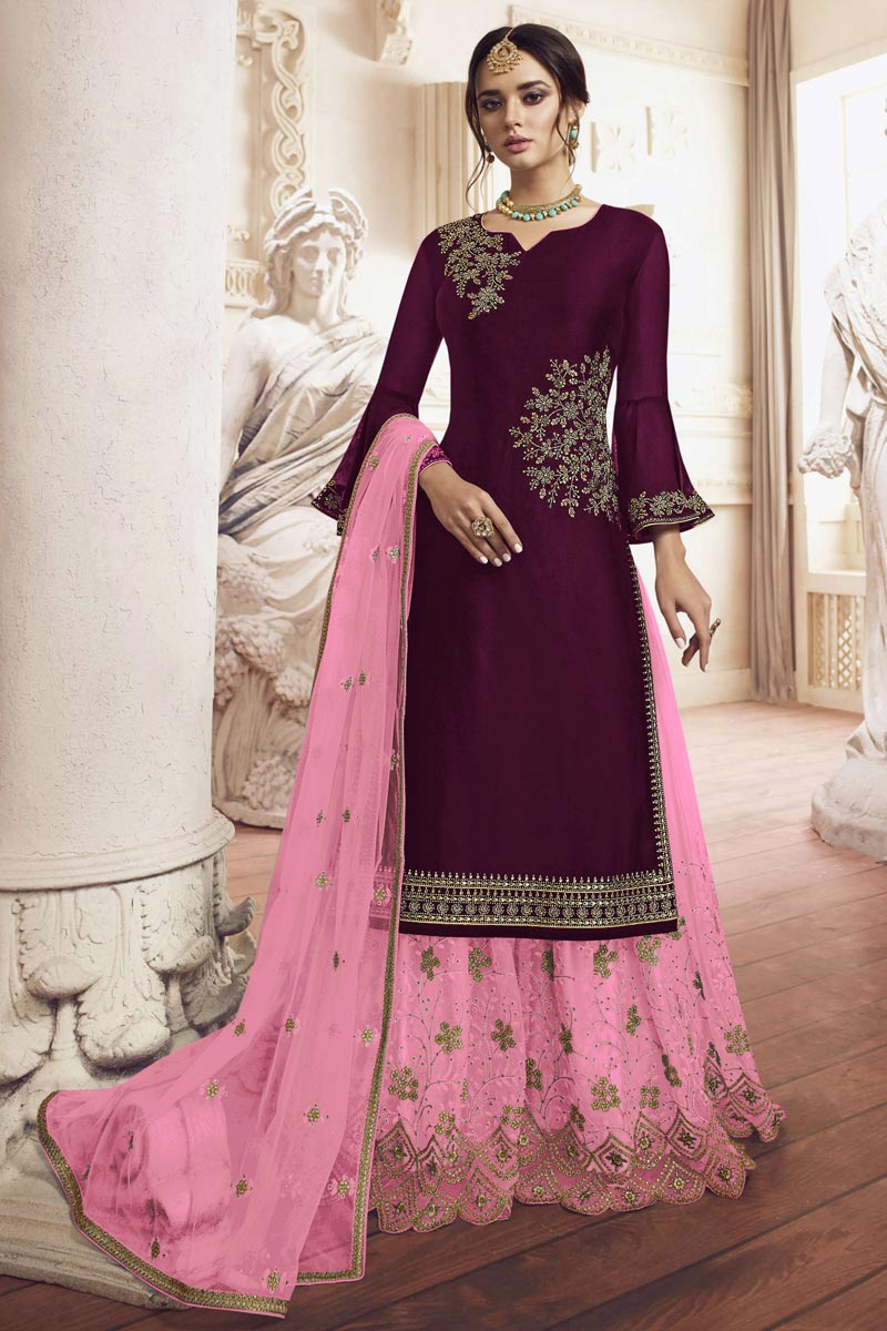 Designer Georgette Fabric Function Wear Embroidered Wine Color Sharara Suit