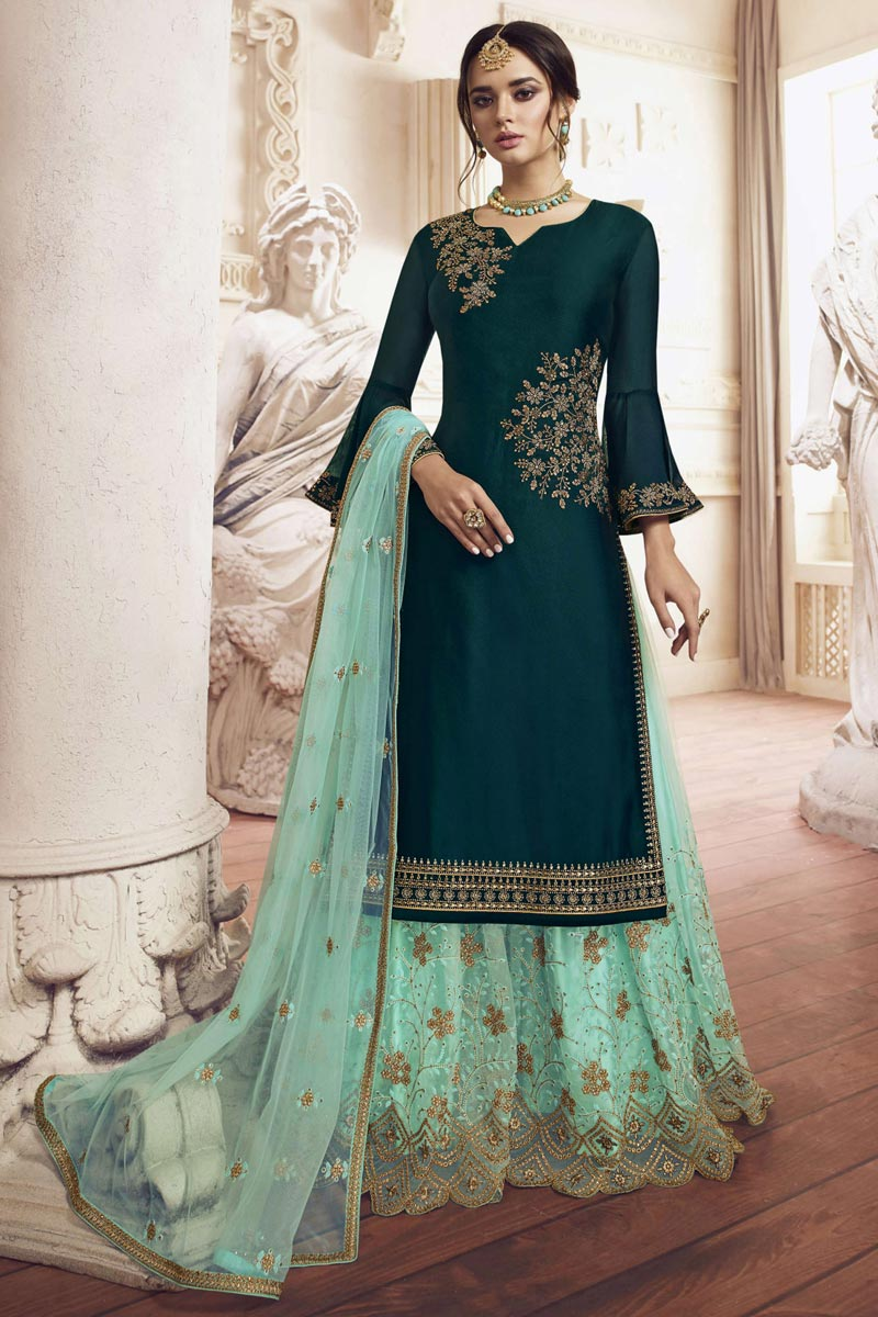 Teal Color Function Wear Designer Embroidered Sharara Dress In Georgette Fabric