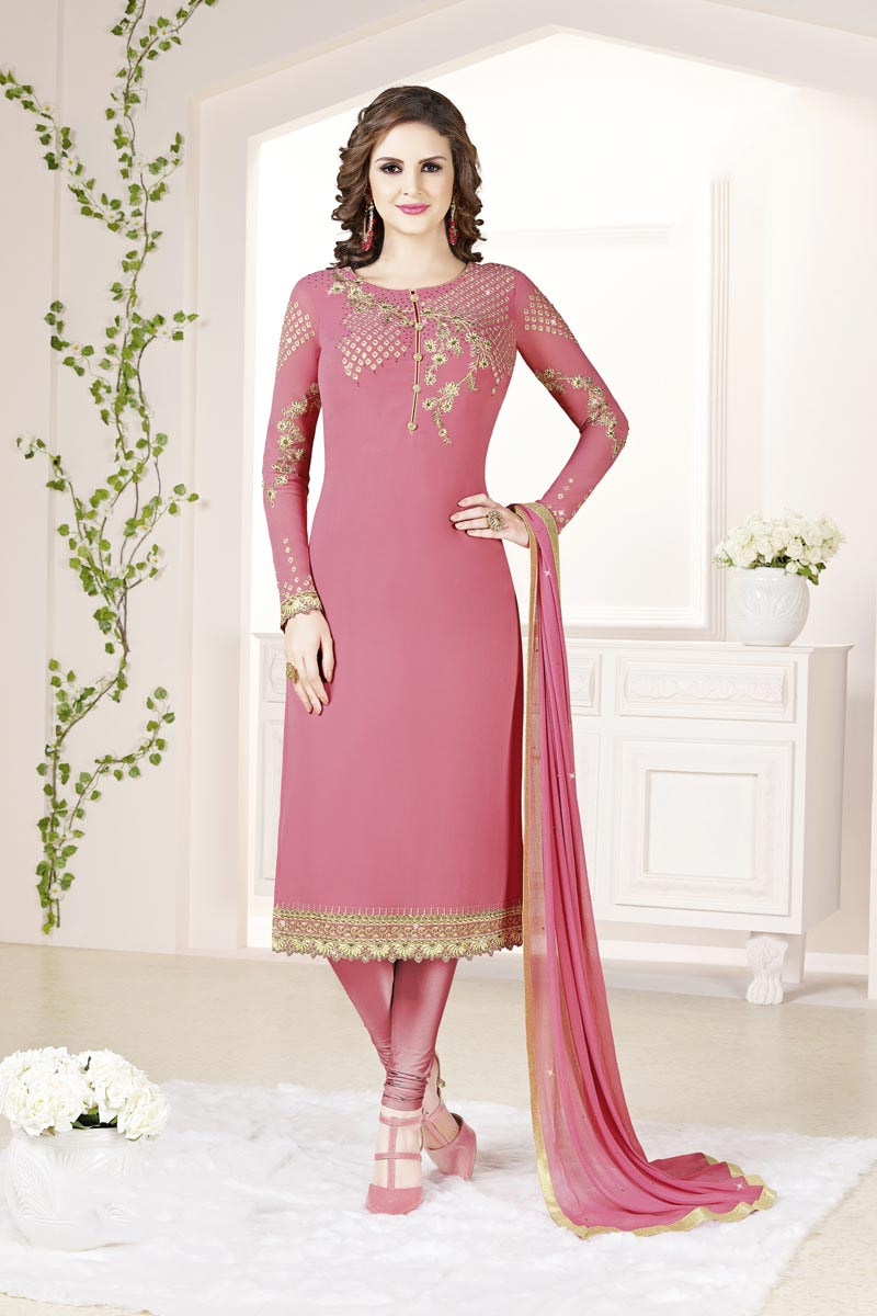 Pink Color Festive Wear Elegant Embroidered Straight Cut Suit In Georgette Fabric