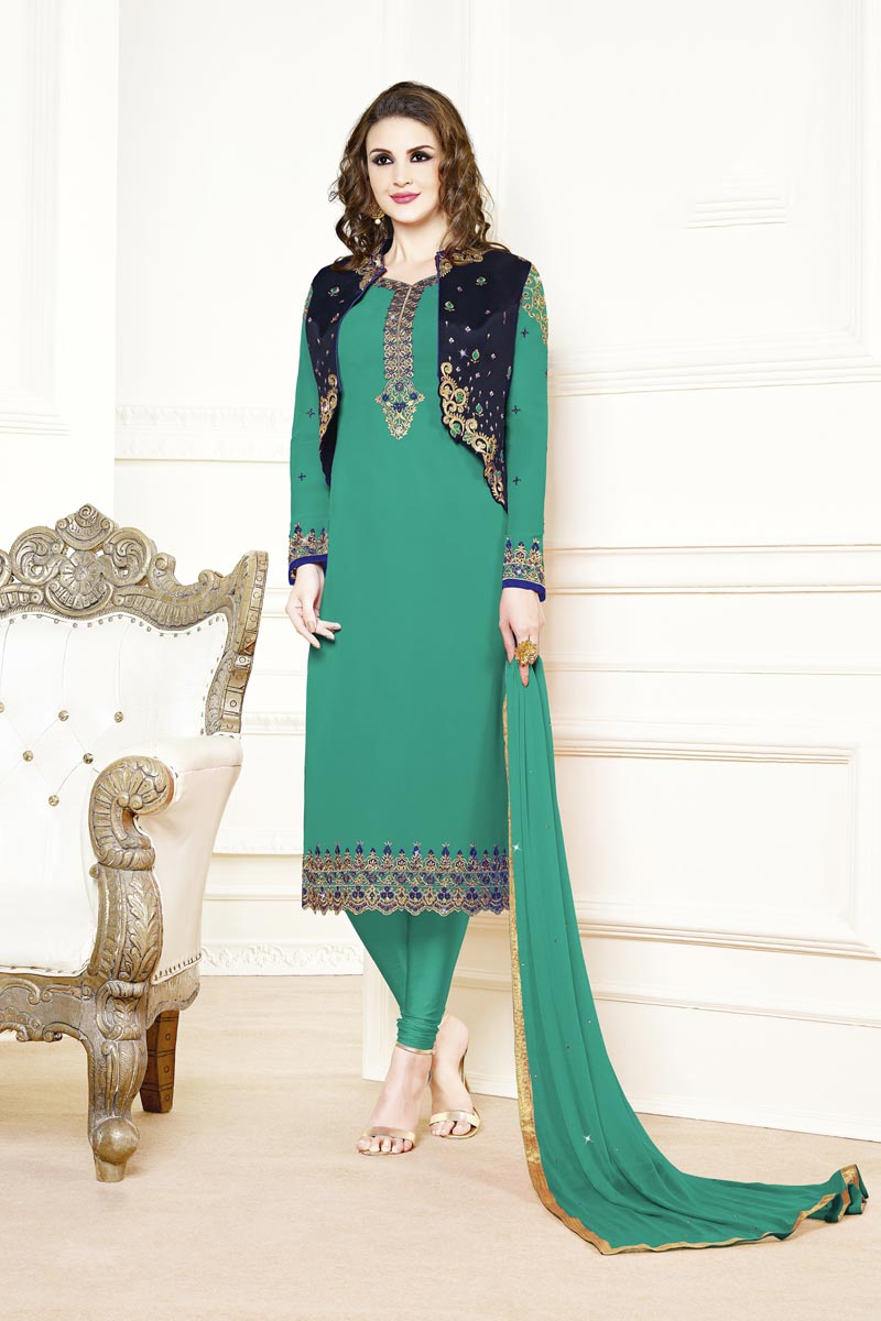 Festive Wear Elegant Georgette Fabric Embroidered Straight Cut Cyan Color Dress