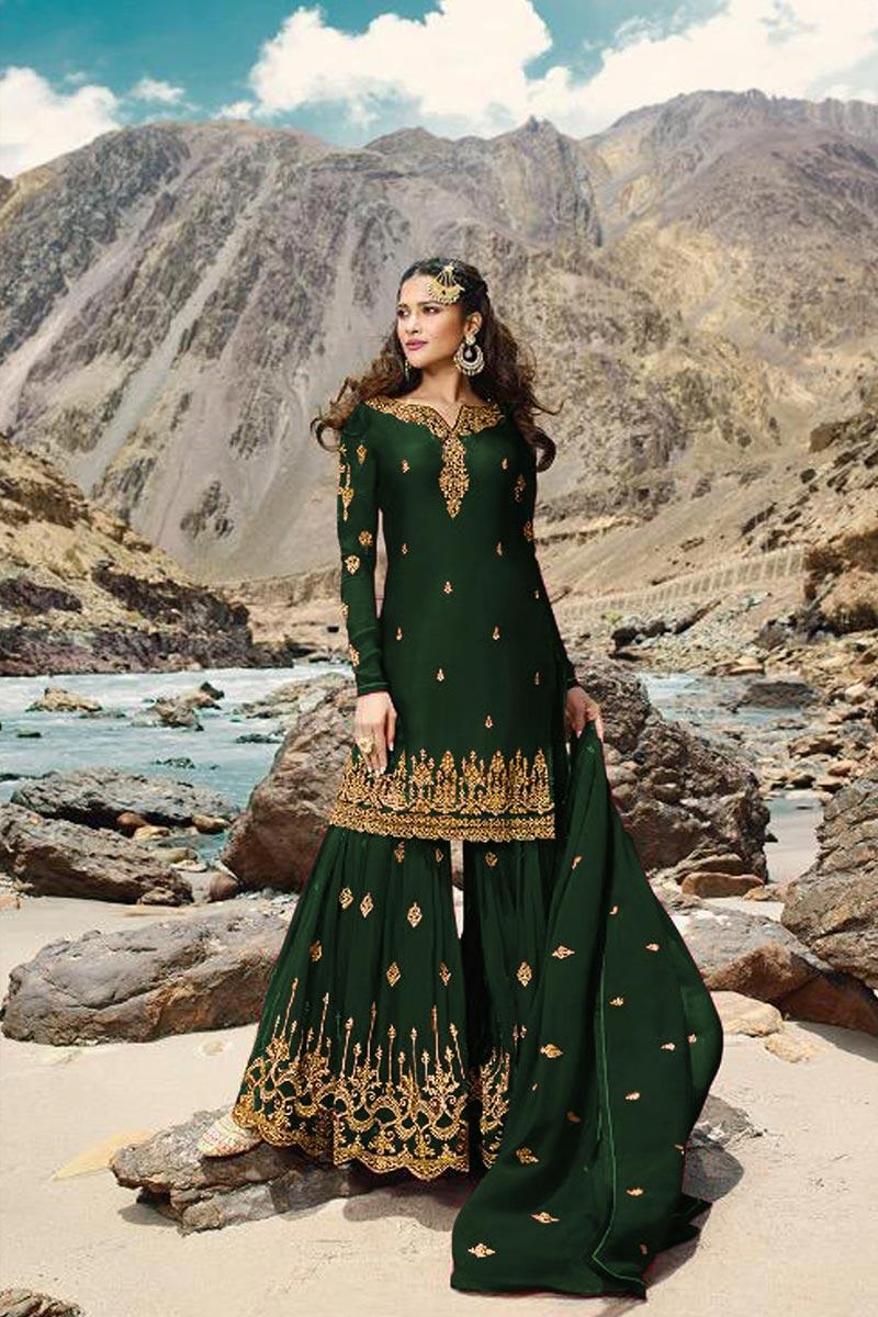 Sangeet Wear Georgette Fabric Designer Embroidered Sharara Dress In Dark Green Color