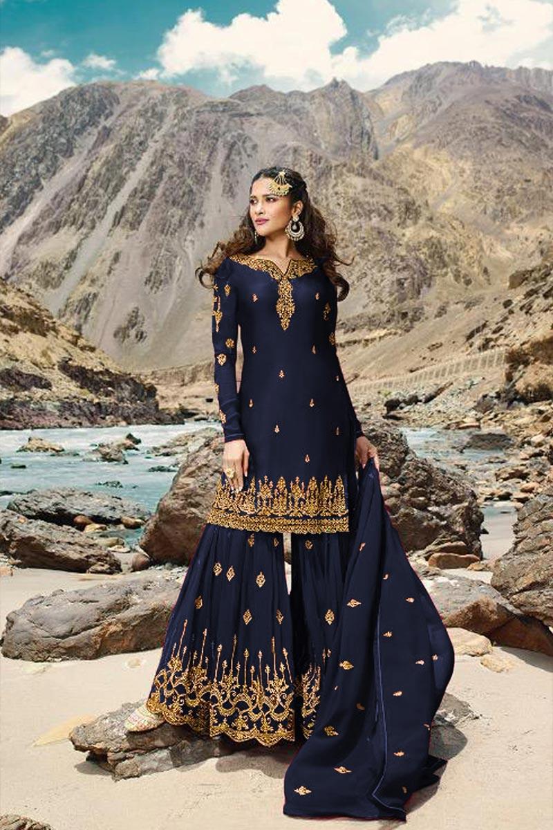 Designer Georgette Fabric Sangeet Wear Embroidered Navy Blue Color Sharara Suit