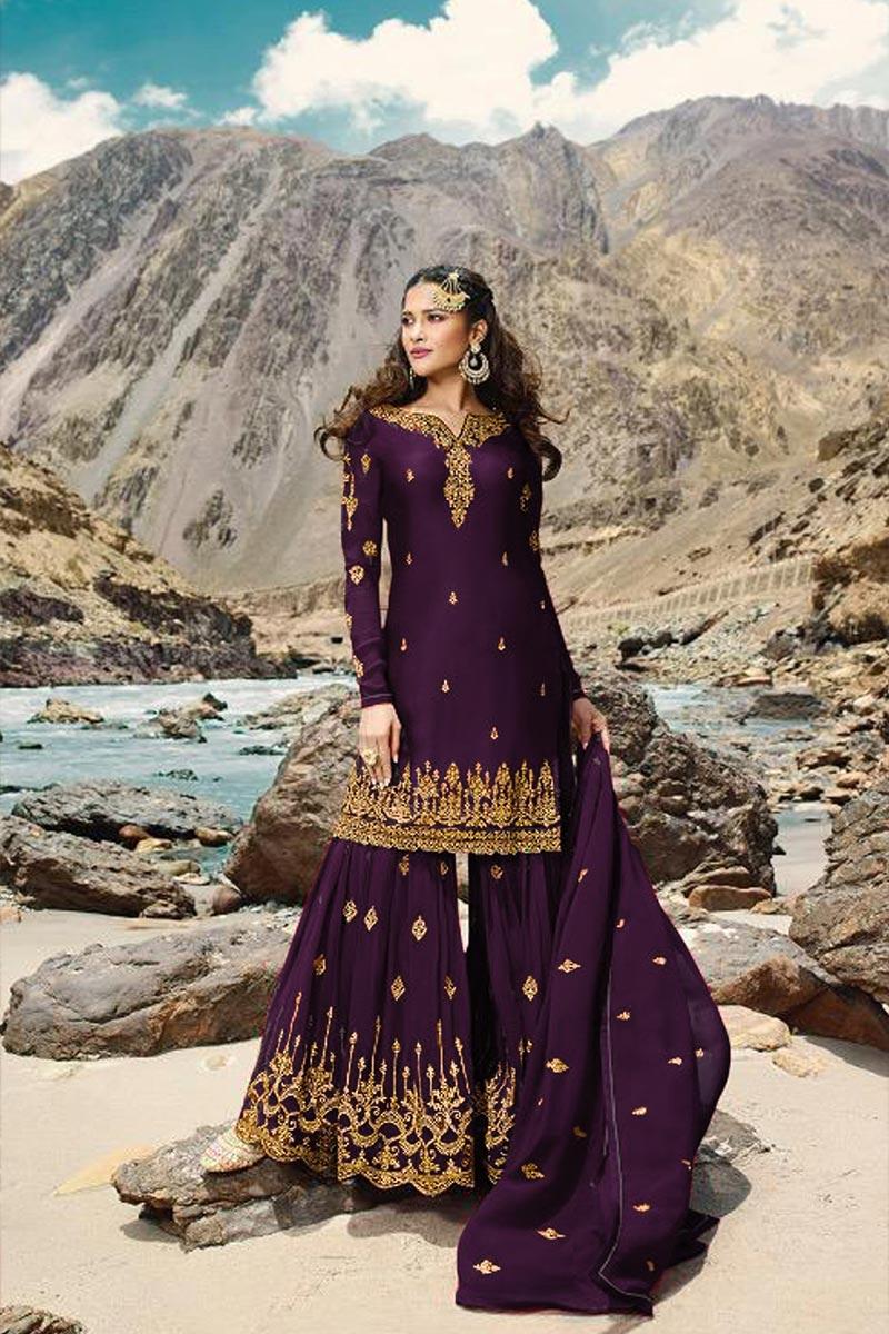 Georgette Fabric Sangeet Wear Designer Embroidered Purple Color Sharara Dress