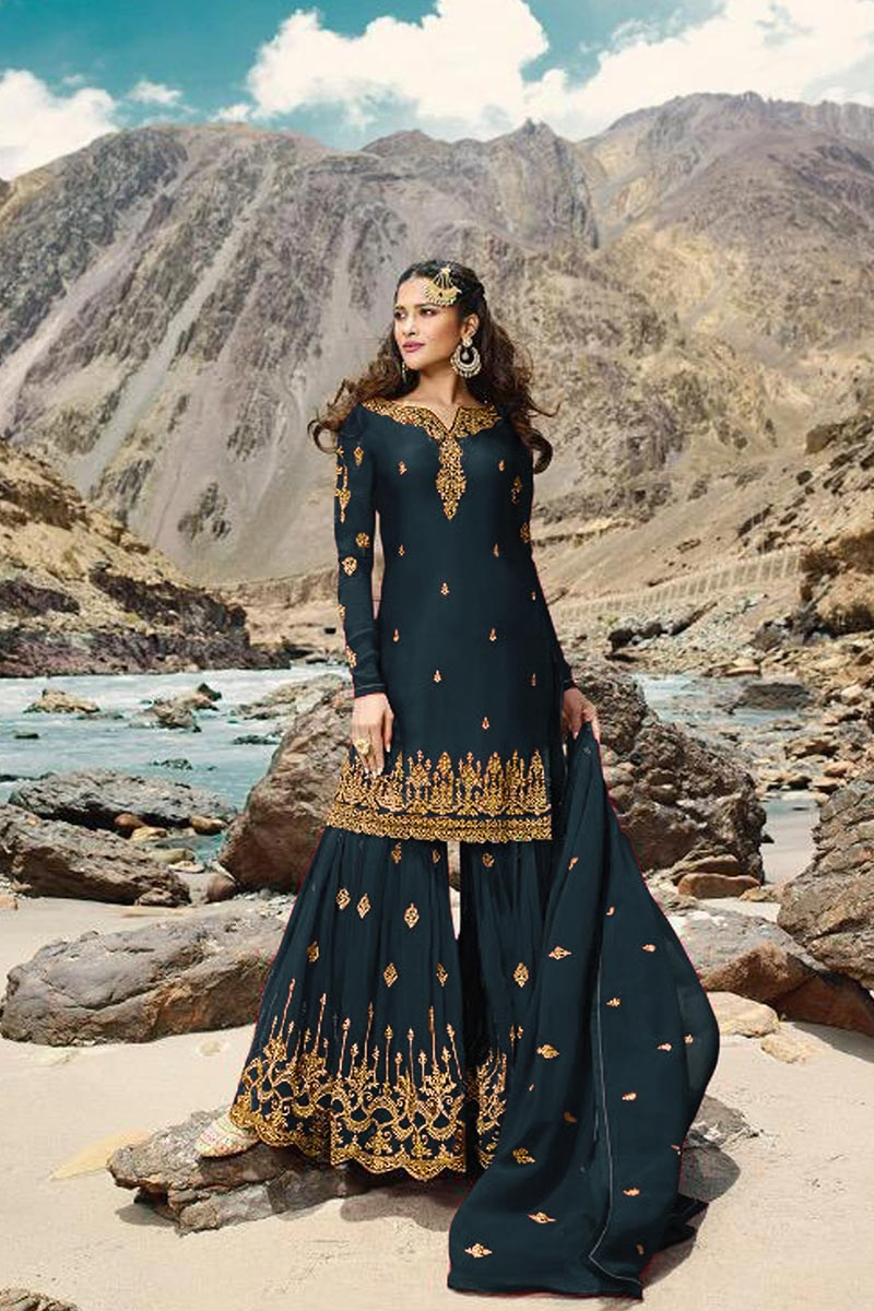 Sangeet Wear Georgette Fabric Designer Teal Color Embroidered Sharara Suit