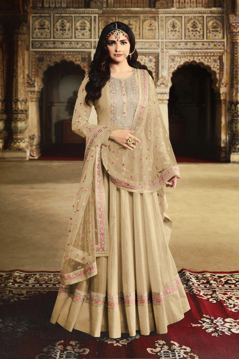 Prachi Desai Function Wear Beige Color Designer Georgette Fabric Embroidered Anarkali Dress