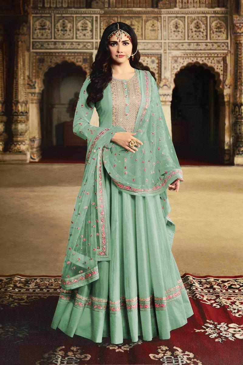 Prachi Desai Georgette Fabric Function Wear Designer Embroidered Cyan Color Anarkali Dress